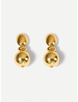Metal Ball Layered Drop Earrings by Shein