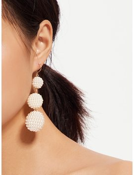 Faux Pearl Ball Drop Earrings by Shein