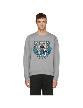 Grey Leopard Tiger Sweatshirt by Kenzo