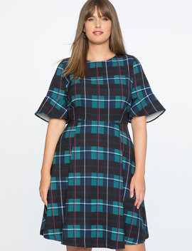 Draper James For Eloquii Plaid Print Fit And Flare Dress by Eloquii