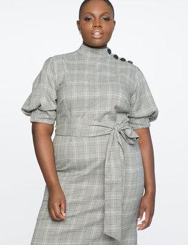 Puff Sleeve Plaid Dress  Dominique Tall Boot by Eloquii