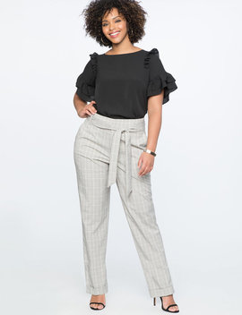High Waisted Plaid Cuff Pant With Tie by Eloquii
