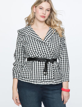 Ruffle Trimmed Gingham Jacket With Belt by Eloquii