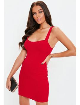 Red Ribbed Cup Detail Mini Dress by Missguided
