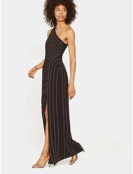 One Shoulder Gown With Chain Piping by Halston