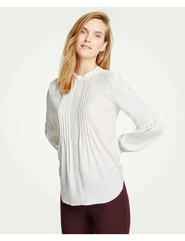 Lace Inset Mock Neck Blouse by Ann Taylor