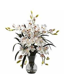 Nearly Natural 1300 Wh Large Cymbidium With Vase Arrangement, White by Nearly Natural