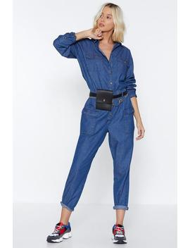 Get Up And Jump Denim Jumpsuit by Nasty Gal