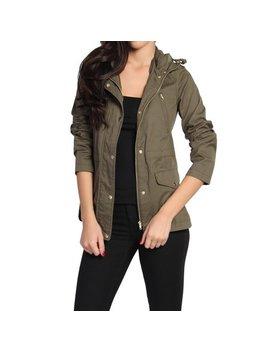 The Mogan Women's Cotton Drawstring Hooded Anorak Utility Jacket Olive M by Walmart