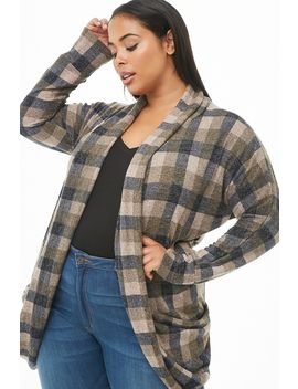 Plus Size Plaid Knit Cardigan by Forever 21