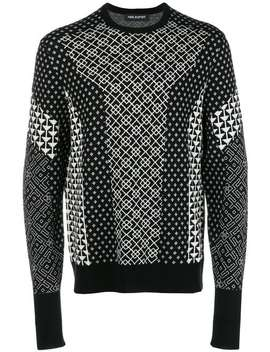 Contrast Intarsia Knit Sweater by Neil Barrett