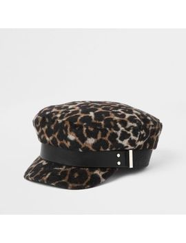 Brown Leopard Print Studded Baker Boy Hat by River Island