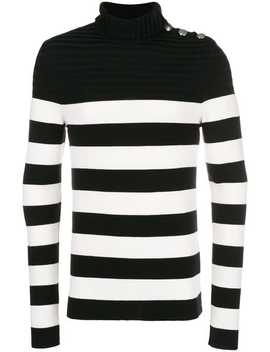 Button Shoulder Turtleneck Sweater by Balmain