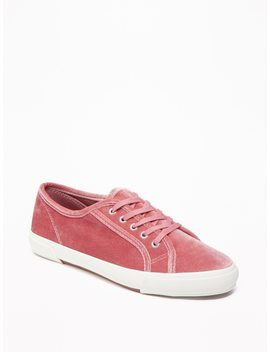 Velvet Lace Up Sneakers For Women by Old Navy