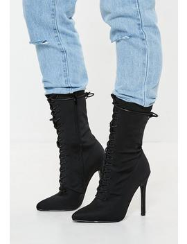 Black Lycra Lace Up Stilletto Heel Ankle Boots by Missguided