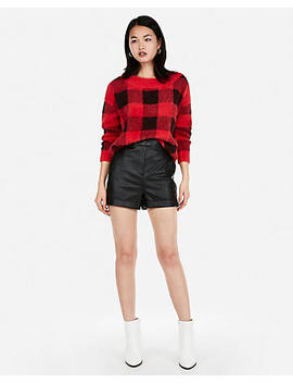 Super High Waisted Cuffed Faux Leather Shorts by Express