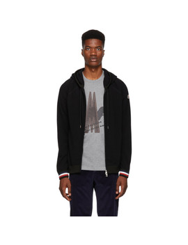 Black Wool Maglione Zip Hoodie by Moncler