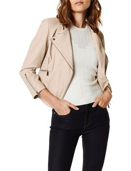 Fitted Leather Biker Jacket by Karen Millen