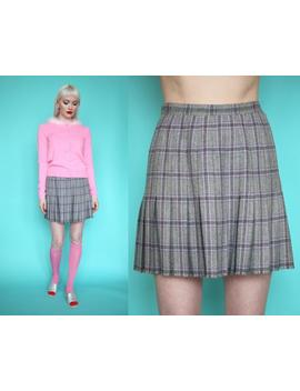 Vtg 70s Pendleton Gray & Pink Plaid Pleated Wool Skirt Sz 26 / S by Etsy