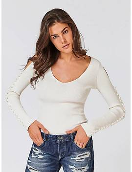 Pearl Sleeve Jumper by Guess