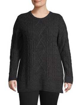 Plus Zenith Long Sleeve Sweater by Lord & Taylor