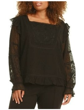 Plus Ruffled Tulle Long Sleeve Blouse by Dex