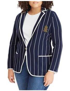 Plus Stripe Stretch Cotton Blazer by Lauren Ralph Lauren