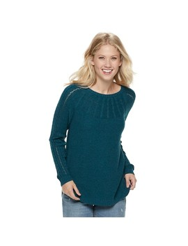 Women's Sonoma Goods For Life™ Cable Knit Yoke Crewneck Sweater by Kohl's