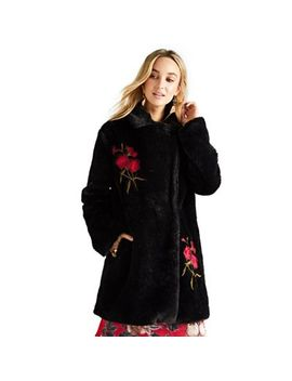 Yumi   Black Floral Embroidered Faux Fur Coat by Yumi