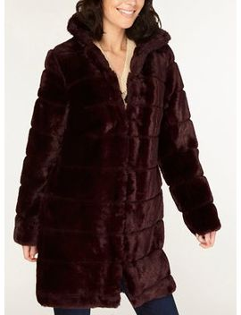 Dorothy Perkins   Berry Carved Faux Fur Coat by Dorothy Perkins