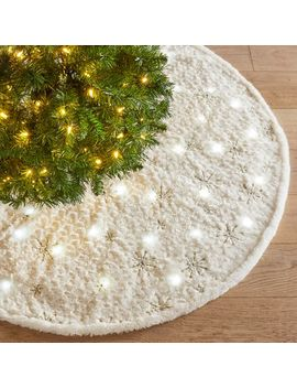 Led Light Up Fuzzy Snowflake Tree Skirt by Pier1 Imports