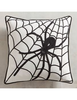 Embroidered Spider Web Halloween Pillow by Midnight Carnival Collection