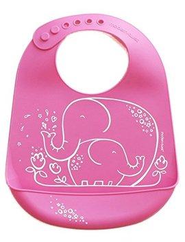 Modern Twist Elephant Waterproof Silicone Baby Bucket Bib With Adjustable Strap, Plastic Free, Wipe Clean And Dishwasher Safe, Pink by Modern Twist