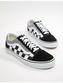 Vans Old Skool Checkerboard Sneakers In Black Vn0 A38 G1 Q9 B1 by Vans