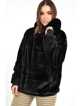 Black Faux Fur Pocket Front Hoodie   Madi by Rebellious Fashion