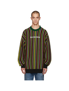 Multicolor Striped Logo Sweater by Balenciaga
