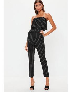 Petite Black Stripe Bandeau Jumpsuit by Missguided