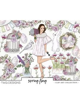 Spring Easter Fashion Girl Clip Art Png Watercolor Clipart Png Planner Bunny Flowers Wreath Glitter Hand Drawn Illustration Sticker Graphics by Etsy
