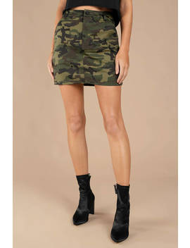On Command Olive Camo Skirt by Tobi