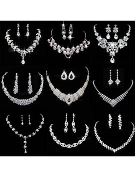 Hot Prom Wedding Bridal Party Crystal Rhinestone Necklace Earring Jewelry Sets by Unbranded