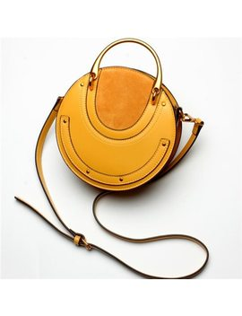 Fox Tail & Lily Genuine Leather Vintage Metal Handle Women Tote Handbags Rivets Small Round Bag Ladies Shoulder Messenger Bags by Fox Tail&Li Ly