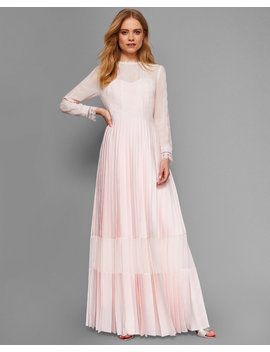 Lace Trim Pleated Maxi Dress by Ted Baker