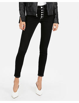 High Waisted Black Button Fly Stretch Jean Leggings by Express