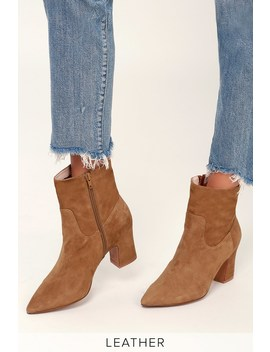 Oakland Caramel Kid Suede Leather Pointed Toe Ankle Booties by Kristin Cavallari