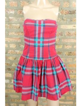Hollister Strapless Red Blue Plaid Tartan Fit & Flare Full School Girl Dress M by Hollister