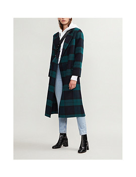Checked Wool And Cotton Blend Coat by Sandro