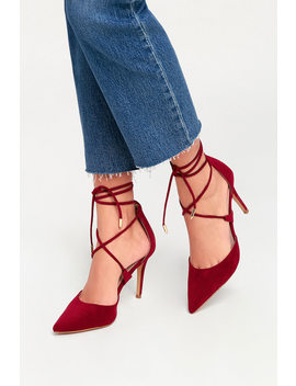 Marie Burgundy Suede Lace Up Heels by Lulus