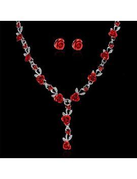 New Women Rose Wedding Bridal Jewelry Crystal Rhinestone Necklace Earrings Set by Unbranded