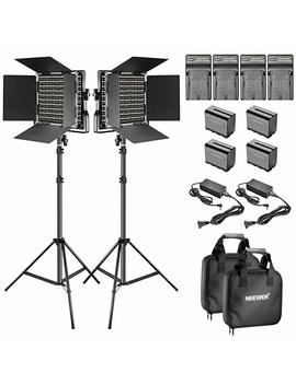 Neewer 2 Pieces Bi Color 660 Led Video Light And Stand Kit Includes:(2)3200 5600 K Cri 96+ Dimmable Light With U Bracket And Barndoor And (2)75 Inches Light Stand For Studio Photography, Video Shooting by Neewer