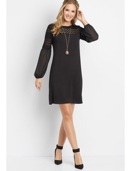 Long Sleeve Crocheted Top Dress by Maurices